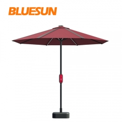 Bluesun New Products Dark Red Colour Solar Panel Umbrella for Courtyards use-Bluesun